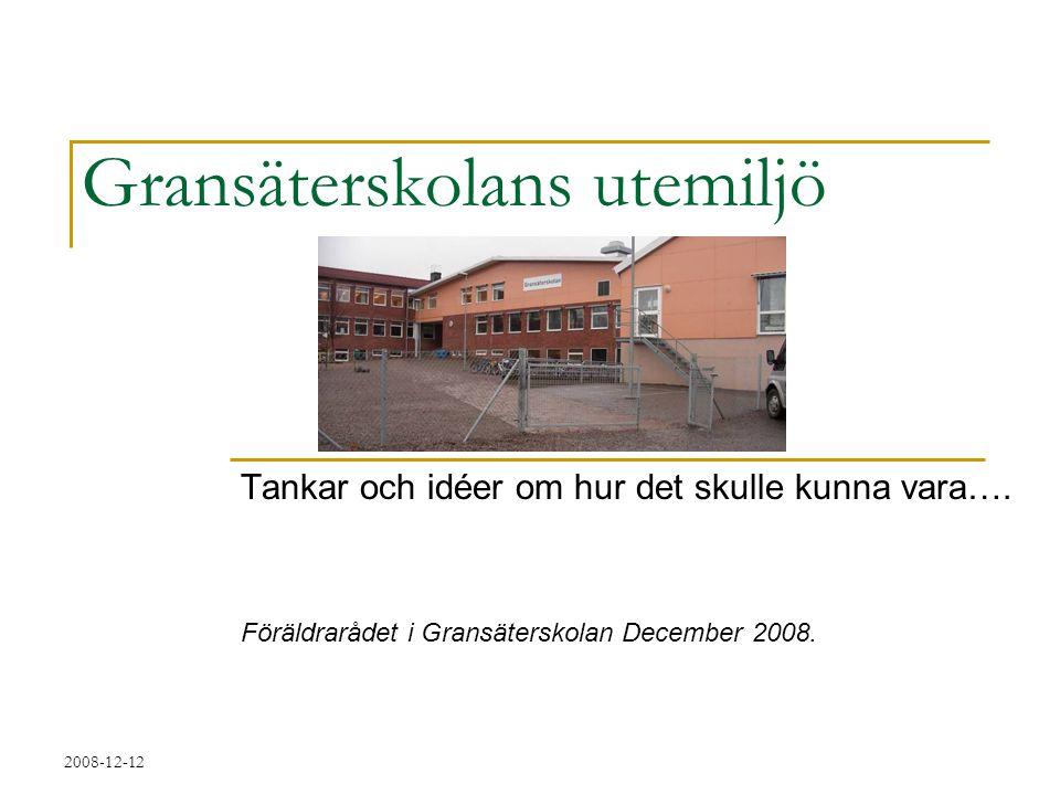 2008-12-12 Gransäterskolans utemiljö Tankar och idéer om hur det skulle kunna vara…. Föräldrarådet i Gransäterskolan December 2008.