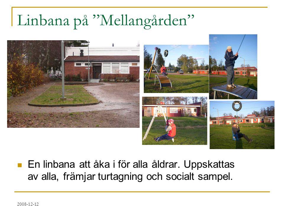 """2008-12-12 Linbana på """"Mellangården""""  En linbana att åka i för alla åldrar. Uppskattas av alla, främjar turtagning och socialt sampel."""
