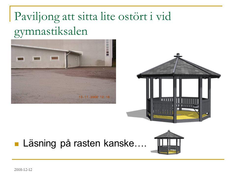 2008-12-12 Paviljong att sitta lite ostört i vid gymnastiksalen  Läsning på rasten kanske….