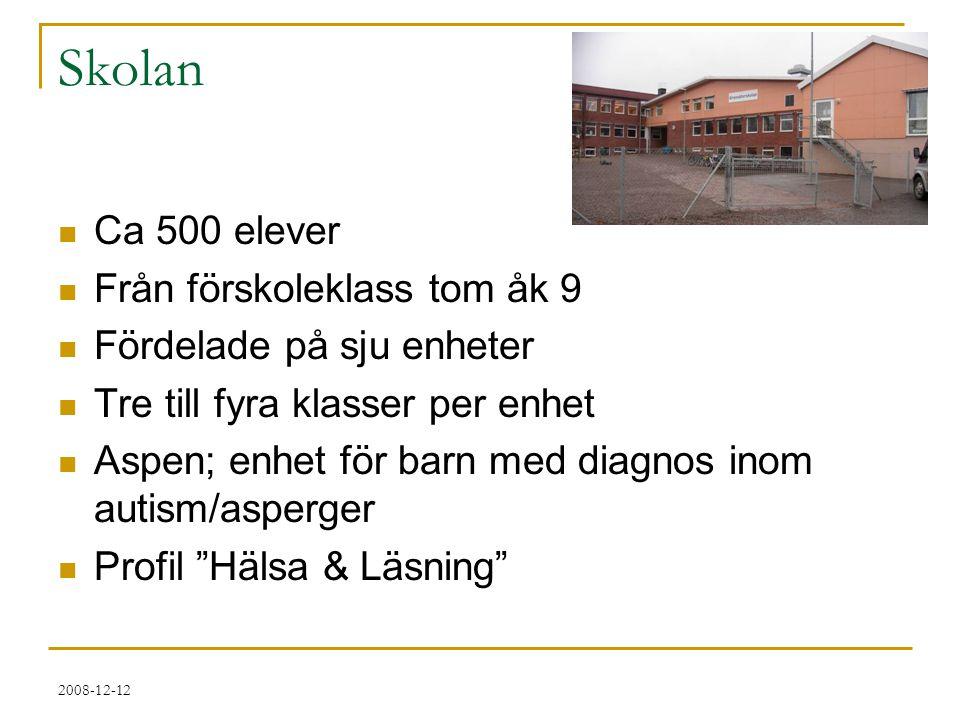 2008-12-12 Skolan  Ca 500 elever  Från förskoleklass tom åk 9  Fördelade på sju enheter  Tre till fyra klasser per enhet  Aspen; enhet för barn m