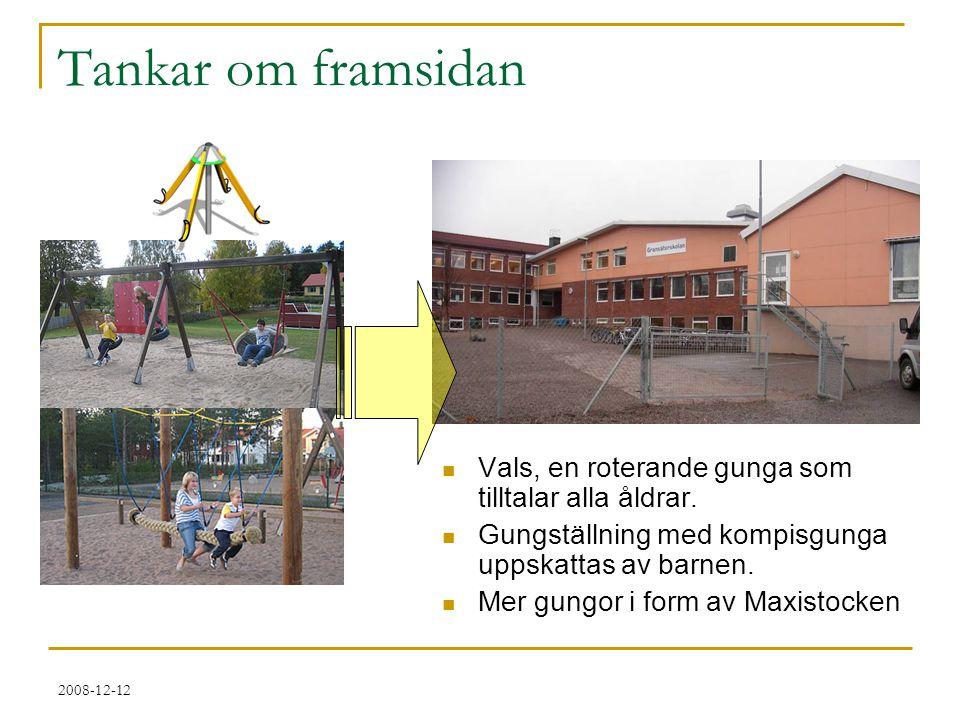2008-12-12 Tankar om framsidan  Vals, en roterande gunga som tilltalar alla åldrar.  Gungställning med kompisgunga uppskattas av barnen.  Mer gungo