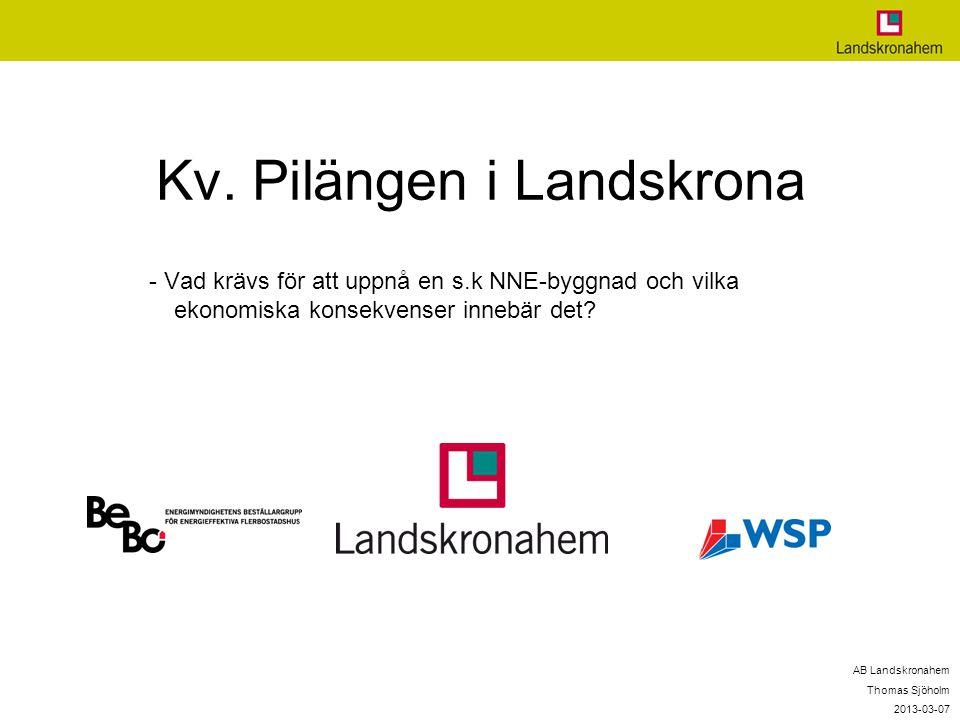 Kv. Pilängen i Landskrona - Vad krävs för att uppnå en s.k NNE-byggnad och vilka ekonomiska konsekvenser innebär det? AB Landskronahem Thomas Sjöholm