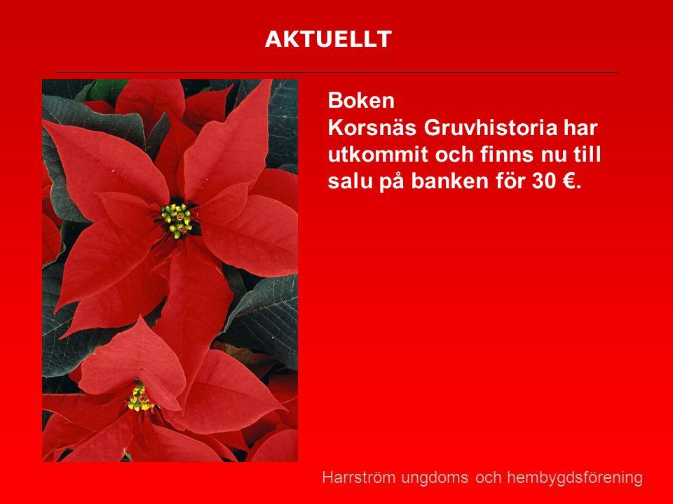 AKTUELLT Boken Korsnäs Gruvhistoria har utkommit och finns nu till salu på banken för 30 €. Harrström ungdoms och hembygdsförening