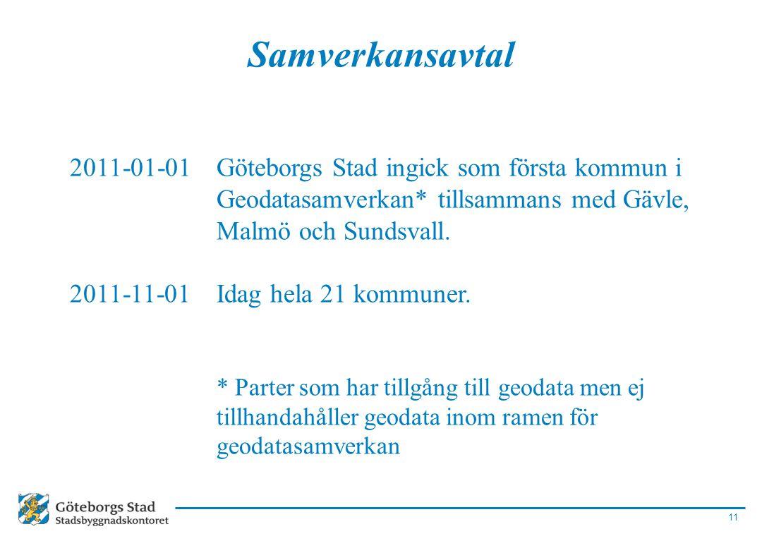11 Samverkansavtal 2011-01-01Göteborgs Stad ingick som första kommun i Geodatasamverkan* tillsammans med Gävle, Malmö och Sundsvall. 2011-11-01Idag he