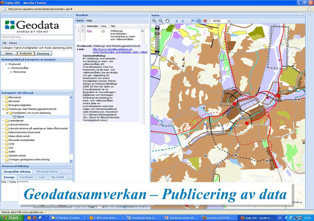 19 Översiktsplan – www.geodata.se Geodatasamverkan – Publicering av data