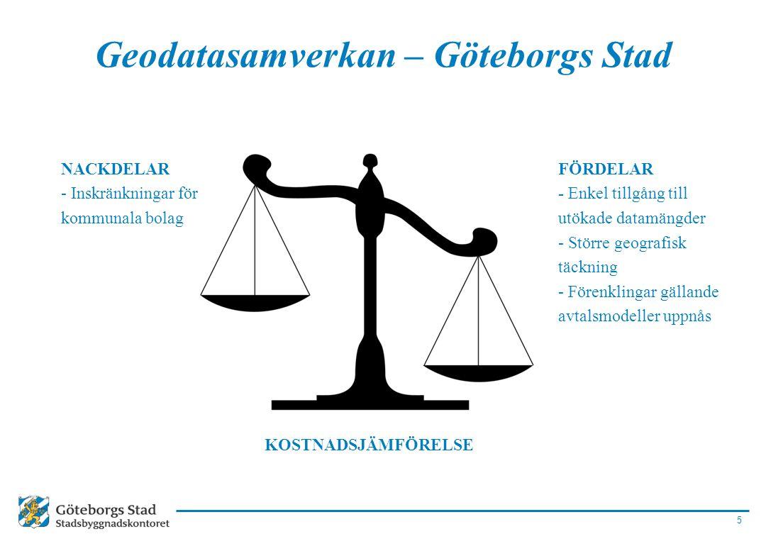 5 Geodatasamverkan – Göteborgs Stad FÖRDELAR - Enkel tillgång till utökade datamängder - Större geografisk täckning - Förenklingar gällande avtalsmode