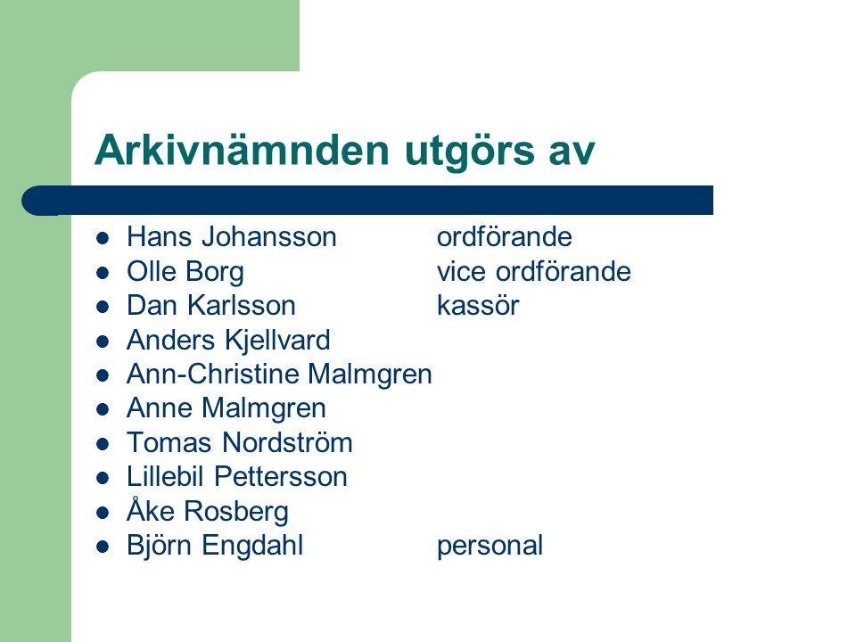 Arkivnämnden utgörs av  Hans Johansson ordförande  Olle Borgvice ordförande  Dan Karlssonkassör  Anders Kjellvard  Ann-Christine Malmgren  Anne