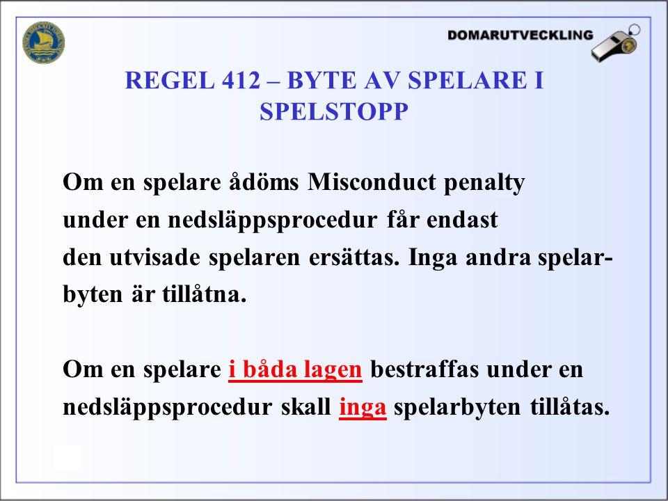 Om en spelare ådöms Misconduct penalty under en nedsläppsprocedur får endast den utvisade spelaren ersättas. Inga andra spelar- byten är tillåtna. Om
