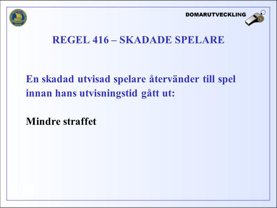 En skadad utvisad spelare återvänder till spel innan hans utvisningstid gått ut: Mindre straffet REGEL 416 – SKADADE SPELARE