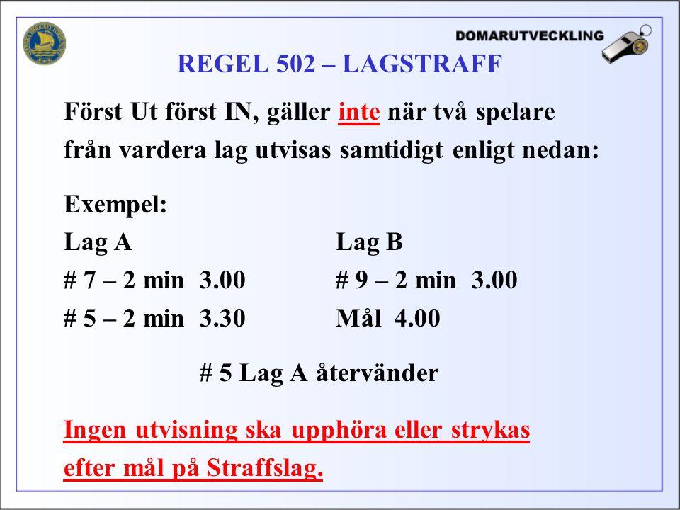 Först Ut först IN, gäller inte när två spelare från vardera lag utvisas samtidigt enligt nedan: Exempel: Lag ALag B # 7 – 2 min3.00# 9 – 2 min3.00 # 5