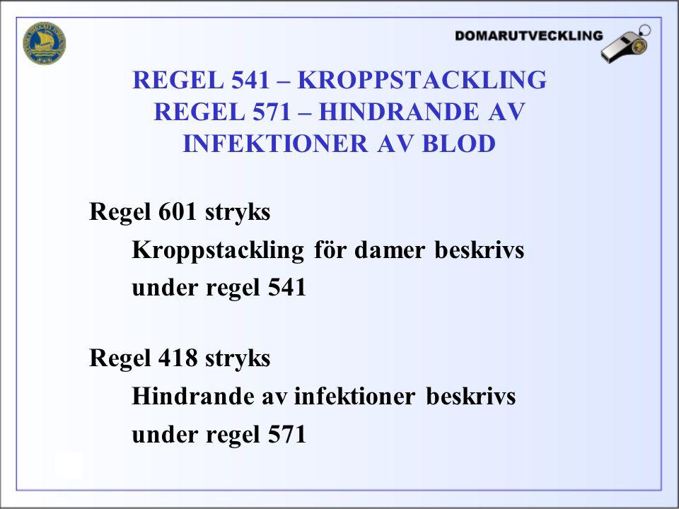 Regel 601 stryks Kroppstackling för damer beskrivs under regel 541 Regel 418 stryks Hindrande av infektioner beskrivs under regel 571 REGEL 541 – KROP