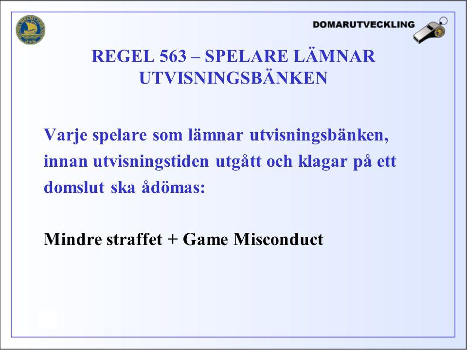 Varje spelare som lämnar utvisningsbänken, innan utvisningstiden utgått och klagar på ett domslut ska ådömas: Mindre straffet + Game Misconduct REGEL