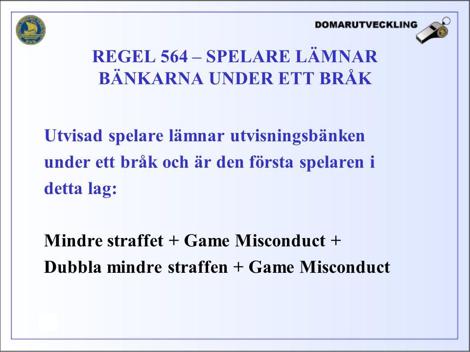 Utvisad spelare lämnar utvisningsbänken under ett bråk och är den första spelaren i detta lag: Mindre straffet + Game Misconduct + Dubbla mindre straf