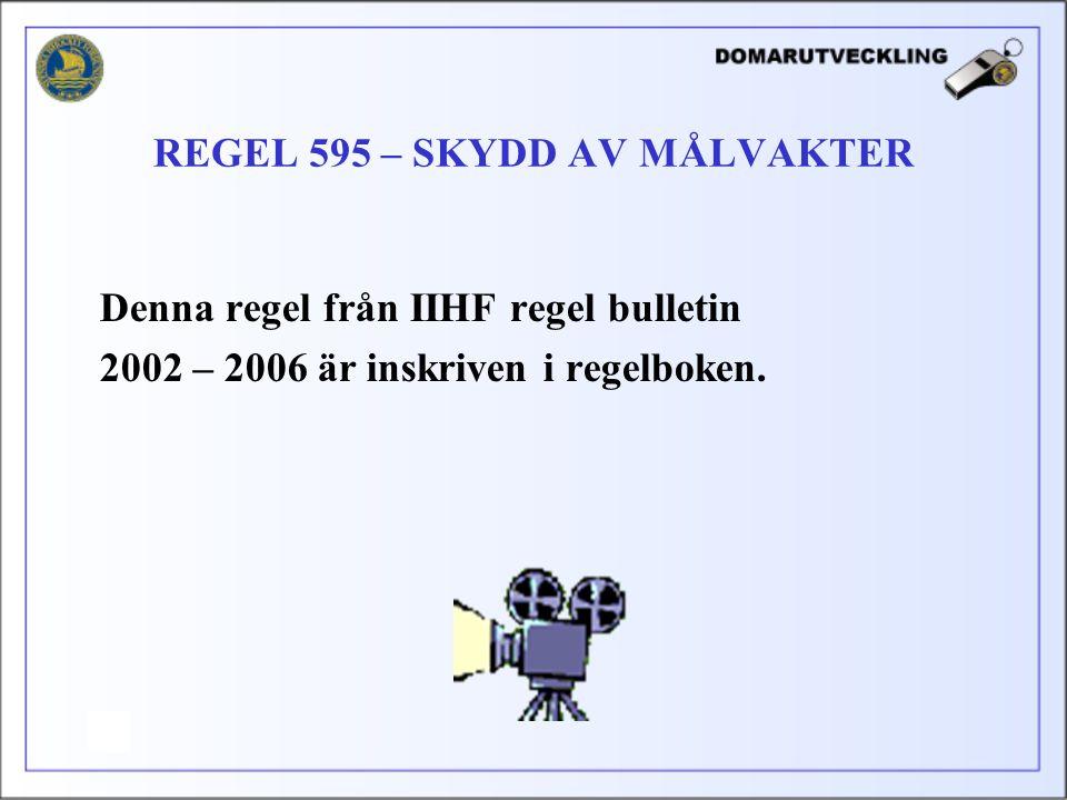 Denna regel från IIHF regel bulletin 2002 – 2006 är inskriven i regelboken. REGEL 595 – SKYDD AV MÅLVAKTER