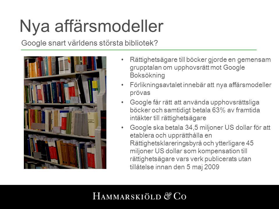 Nya affärsmodeller Google snart världens största bibliotek? •Rättighetsägare till böcker gjorde en gemensam grupptalan om upphovsrätt mot Google Boksö