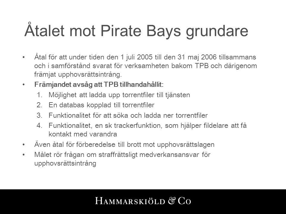 Åtalet mot Pirate Bays grundare •Åtal för att under tiden den 1 juli 2005 till den 31 maj 2006 tillsammans och i samförstånd svarat för verksamheten b