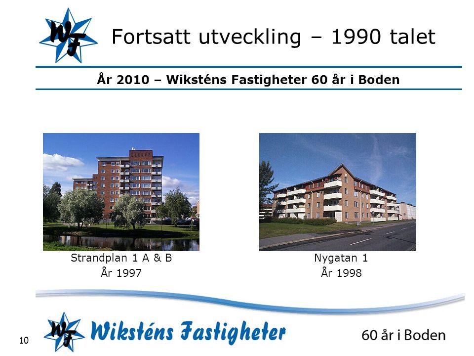 År 2010 – Wiksténs Fastigheter 60 år i Boden 10 Fortsatt utveckling – 1990 talet Strandplan 1 A & B År 1997 Nygatan 1 År 1998