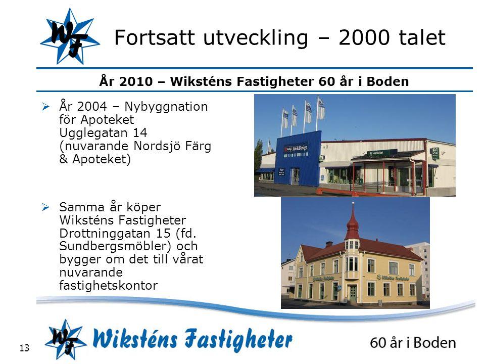 År 2010 – Wiksténs Fastigheter 60 år i Boden 13 Fortsatt utveckling – 2000 talet  År 2004 – Nybyggnation för Apoteket Ugglegatan 14 (nuvarande Nordsjö Färg & Apoteket)  Samma år köper Wiksténs Fastigheter Drottninggatan 15 (fd.