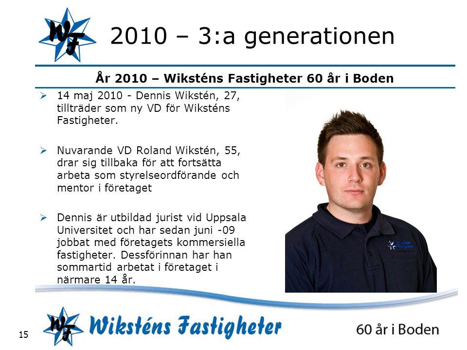 År 2010 – Wiksténs Fastigheter 60 år i Boden 15 2010 – 3:a generationen  14 maj 2010 - Dennis Wikstén, 27, tillträder som ny VD för Wiksténs Fastigheter.