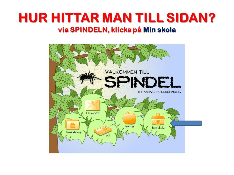 HUR HITTAR MAN TILL SIDAN via SPINDELN, klicka på Min skola