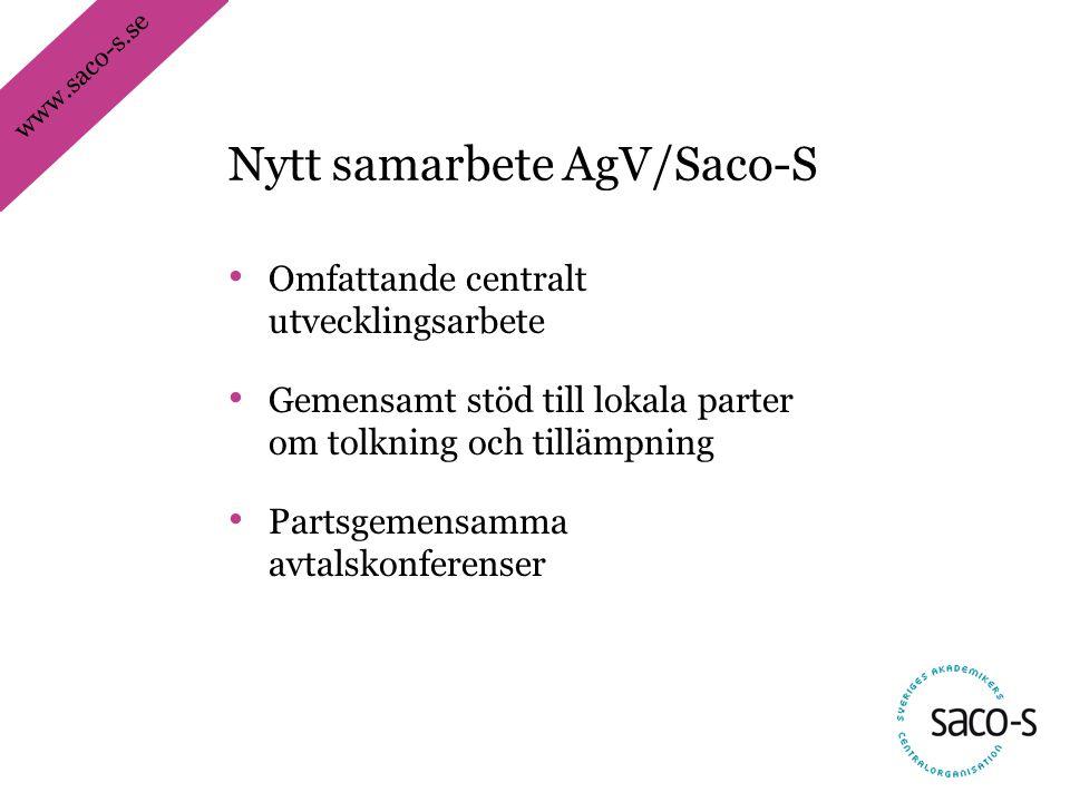 www.saco-s.se • Omfattande centralt utvecklingsarbete • Gemensamt stöd till lokala parter om tolkning och tillämpning • Partsgemensamma avtalskonferen