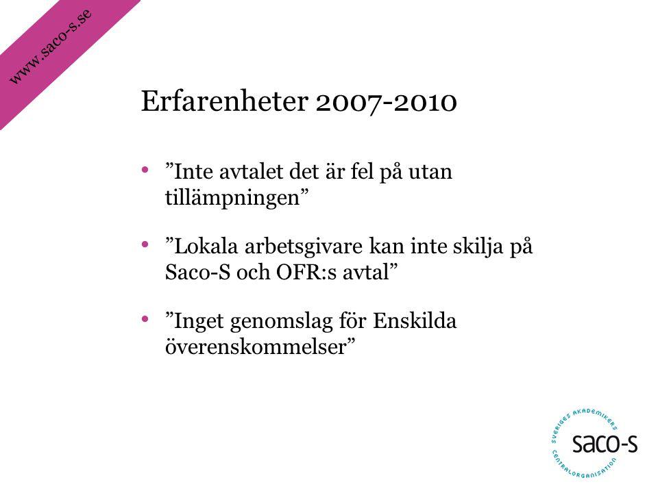 www.saco-s.se • Inte avtalet det är fel på utan tillämpningen • Lokala arbetsgivare kan inte skilja på Saco-S och OFR:s avtal • Inget genomslag för Enskilda överenskommelser Erfarenheter 2007-2010