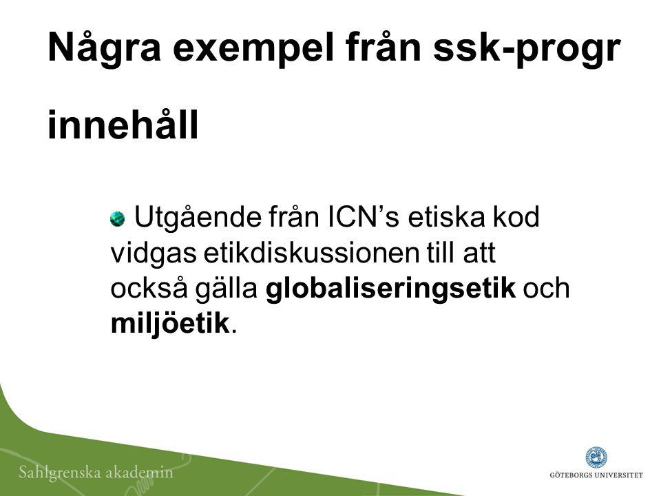 Några exempel från ssk-progr innehåll Utgående från ICN's etiska kod vidgas etikdiskussionen till att också gälla globaliseringsetik och miljöetik.