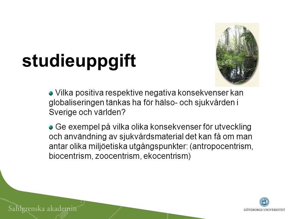 studieuppgift Vilka positiva respektive negativa konsekvenser kan globaliseringen tänkas ha för hälso- och sjukvården i Sverige och världen.