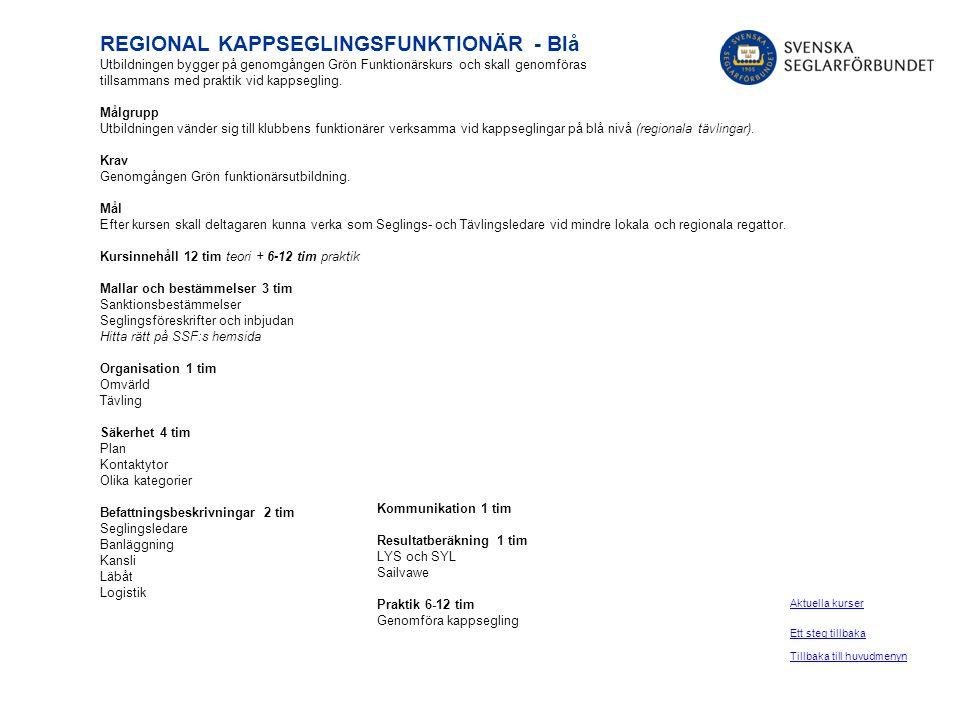 REGIONAL KAPPSEGLINGSFUNKTIONÄR - Blå Utbildningen bygger på genomgången Grön Funktionärskurs och skall genomföras tillsammans med praktik vid kappseg