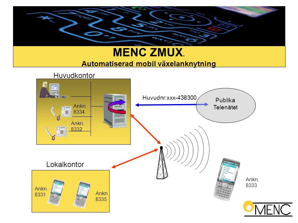 MENC ZMUX. Automatiserad mobil växelanknytning Publika Telenätet Huvudnr:xxx-438300 Ankn. 8333 Ankn. 8332 Ankn. 8334 Ankn. 8331 Ankn. 8335 Huvudkontor