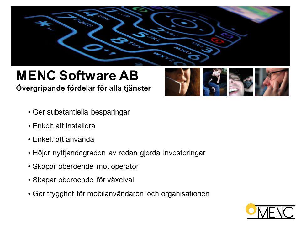 MENC Software AB Övergripande fördelar för alla tjänster • Ger substantiella besparingar • Enkelt att installera • Enkelt att använda • Höjer nyttjand