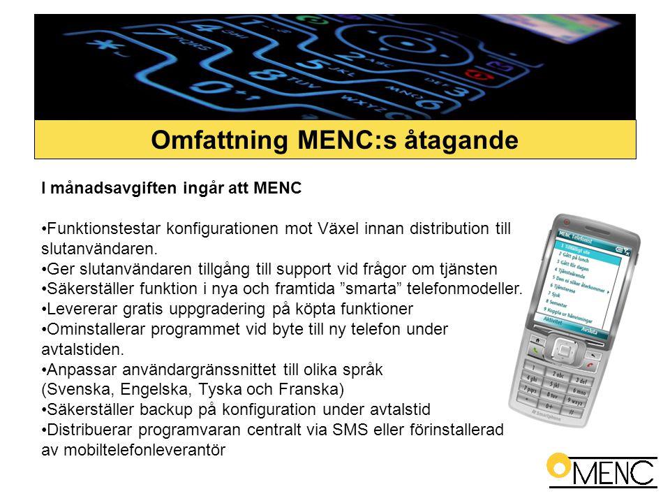 I månadsavgiften ingår att MENC •Funktionstestar konfigurationen mot Växel innan distribution till slutanvändaren. •Ger slutanvändaren tillgång till s