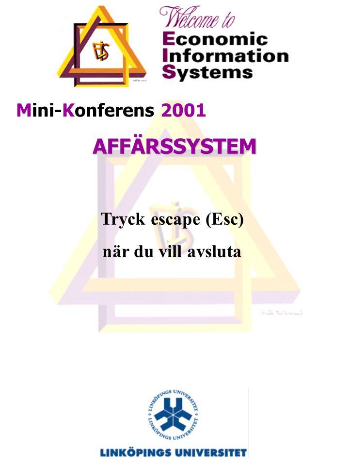 Mini-Konferens 2001 AFFÄRSSYSTEM – Motor i förändring eller grus i maskineriet 6 December klockan 13:00-18:00 Anmälan till Eva Elfinger evael@ida.liu.se, 013-281524 Senast den 3 december Ingen kostnad för deltagande För mera information se: http://www.ida.liu.se/~TDEI25/mk2001.htm http://www.ida.liu.se/~TDEI25/mk2001.htm