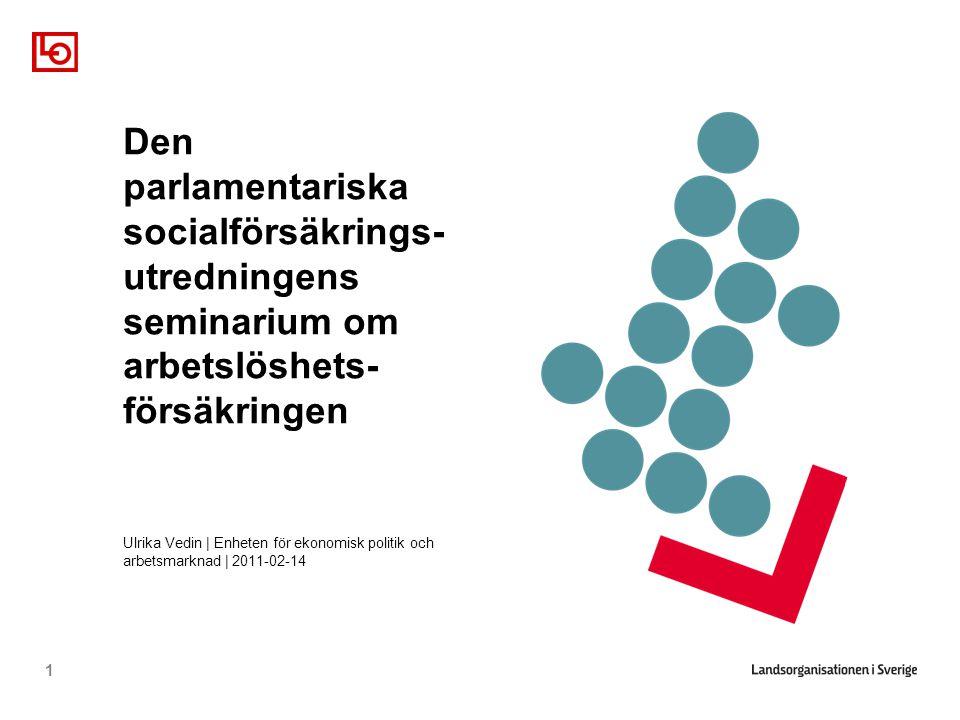 1 Den parlamentariska socialförsäkrings- utredningens seminarium om arbetslöshets- försäkringen Ulrika Vedin | Enheten för ekonomisk politik och arbetsmarknad | 2011-02-14