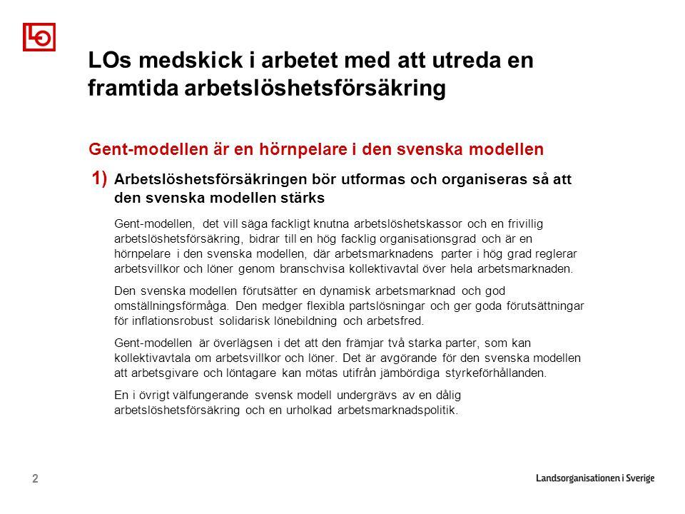 2 Gent-modellen är en hörnpelare i den svenska modellen 1) Arbetslöshetsförsäkringen bör utformas och organiseras så att den svenska modellen stärks Gent-modellen, det vill säga fackligt knutna arbetslöshetskassor och en frivillig arbetslöshetsförsäkring, bidrar till en hög facklig organisationsgrad och är en hörnpelare i den svenska modellen, där arbetsmarknadens parter i hög grad reglerar arbetsvillkor och löner genom branschvisa kollektivavtal över hela arbetsmarknaden.