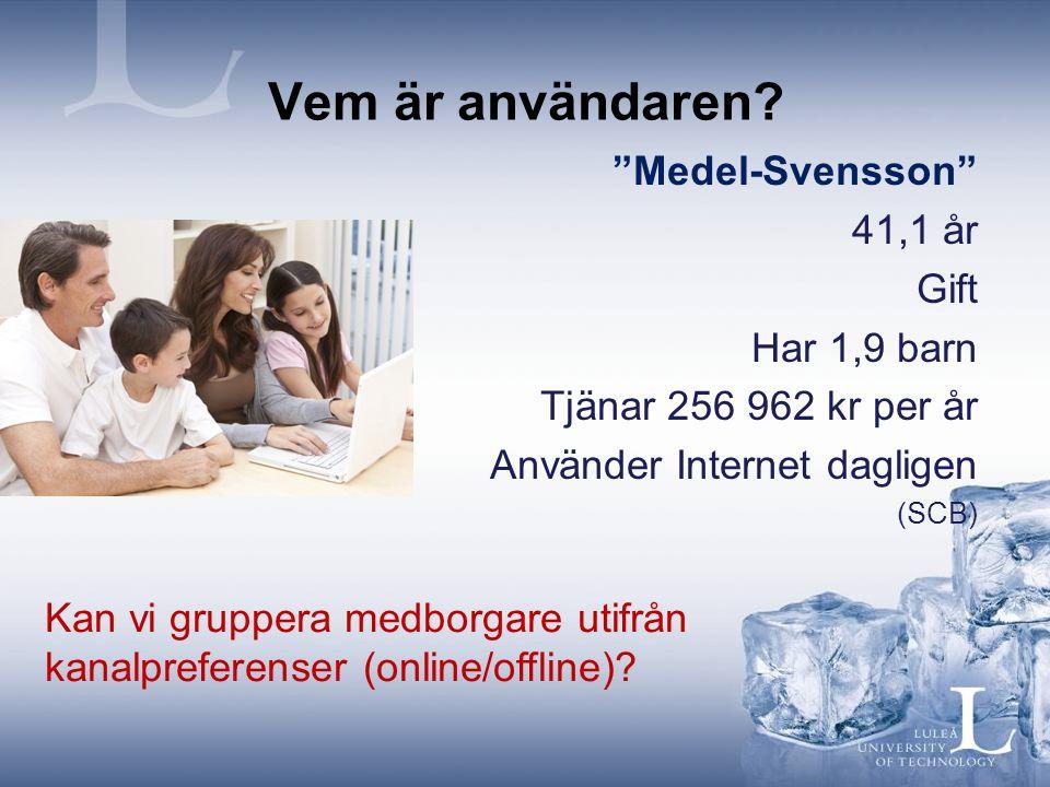 """Vem är användaren? """"Medel-Svensson"""" 41,1 år Gift Har 1,9 barn Tjänar 256 962 kr per år Använder Internet dagligen (SCB) Kan vi gruppera medborgare uti"""