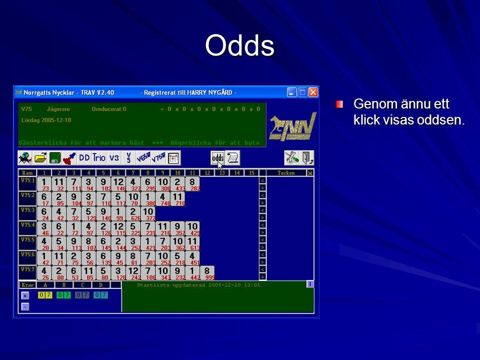 Odds Genom ännu ett klick visas oddsen.