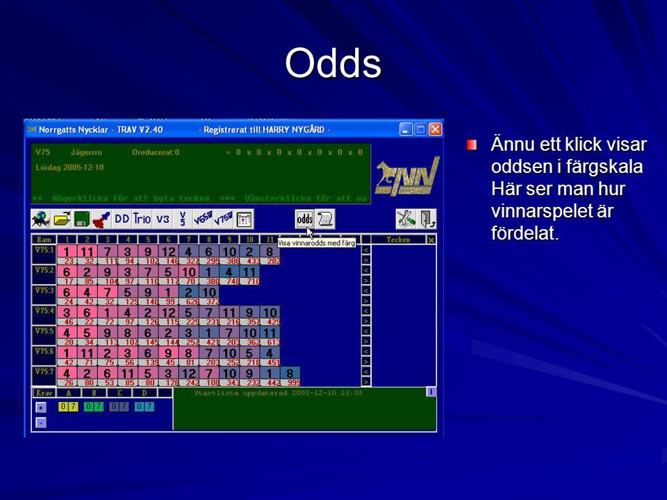 Odds Ännu ett klick visar oddsen i färgskala Här ser man hur vinnarspelet är fördelat.