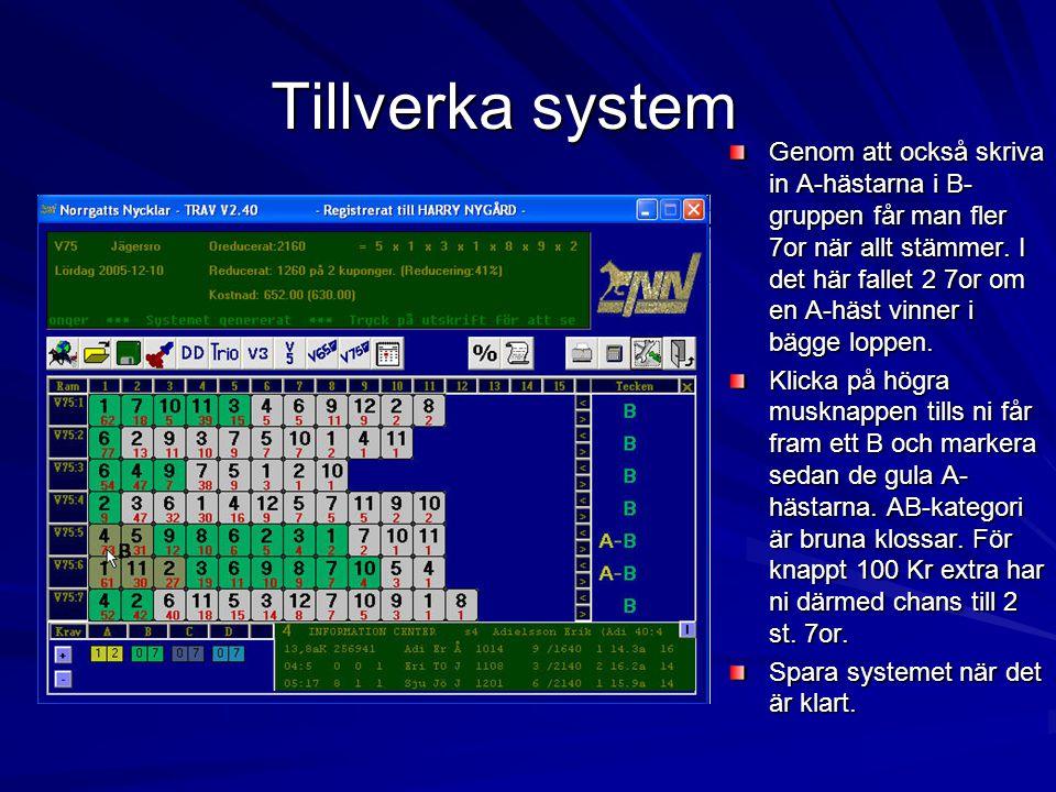 Tillverka system Genom att också skriva in A-hästarna i B- gruppen får man fler 7or när allt stämmer.