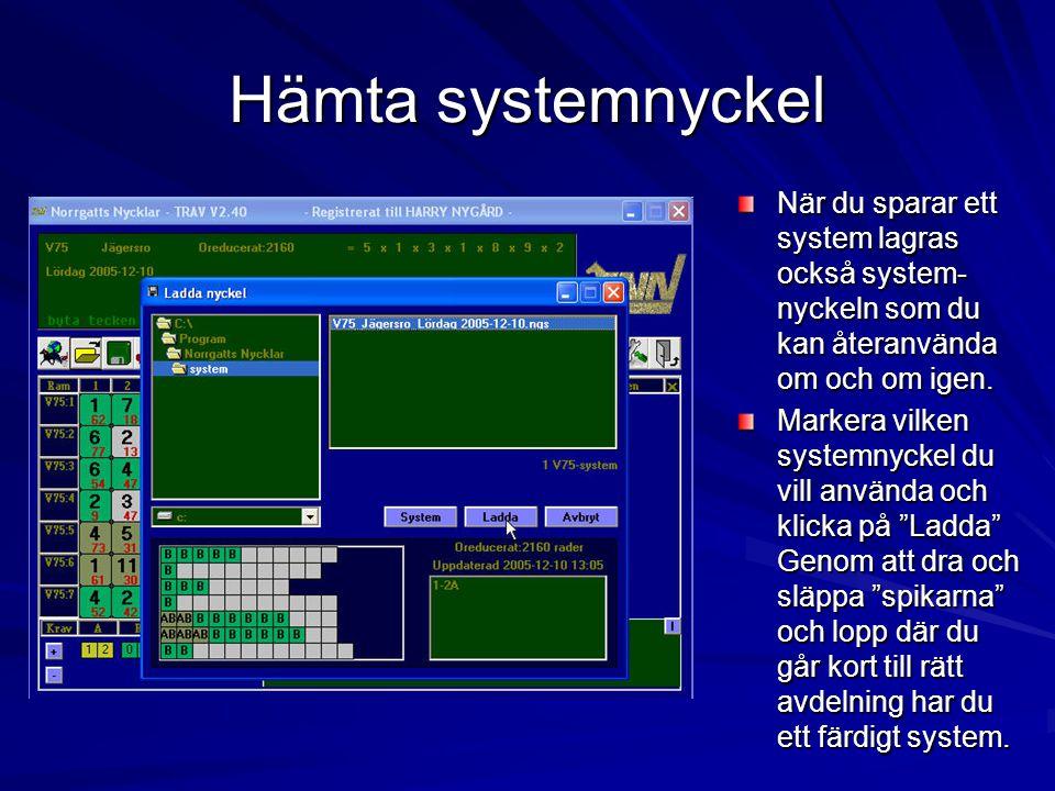 Hämta systemnyckel När du sparar ett system lagras också system- nyckeln som du kan återanvända om och om igen.