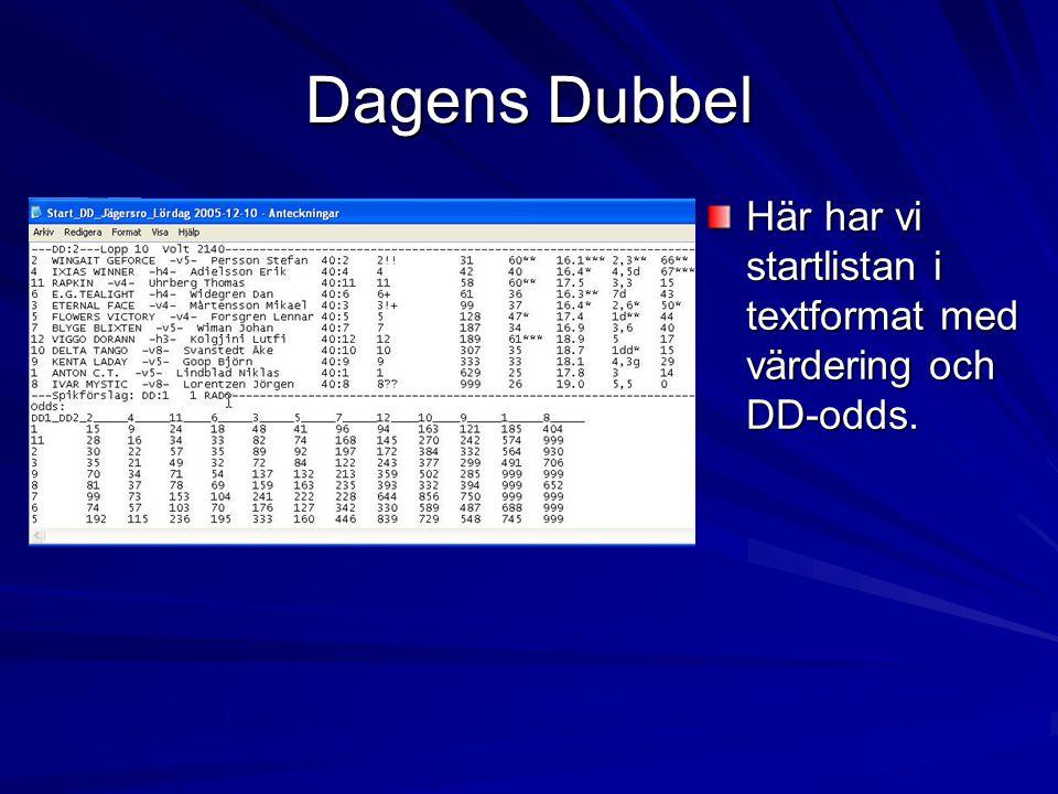 Dagens Dubbel Här har vi startlistan i textformat med värdering och DD-odds.