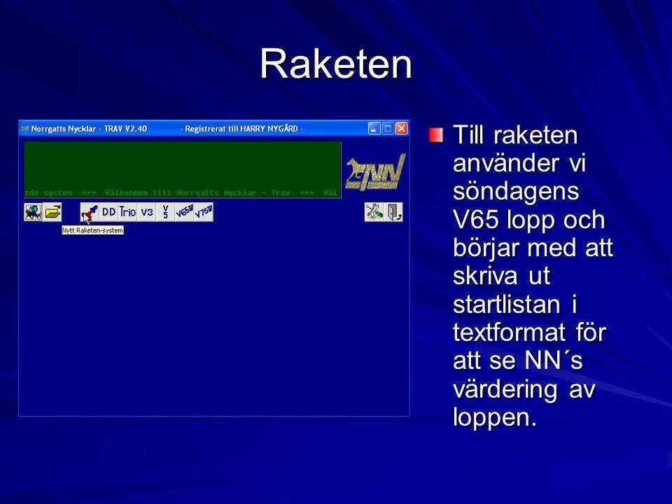 Raketen Till raketen använder vi söndagens V65 lopp och börjar med att skriva ut startlistan i textformat för att se NN´s värdering av loppen.