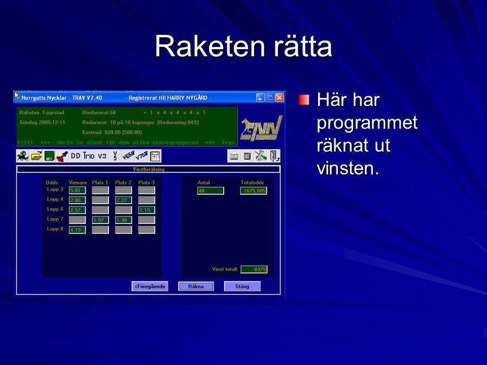 Raketen rätta Här har programmet räknat ut vinsten.