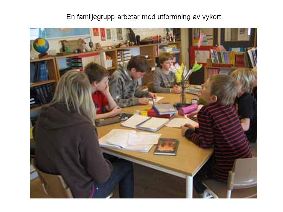 En familjegrupp arbetar med utformning av vykort.