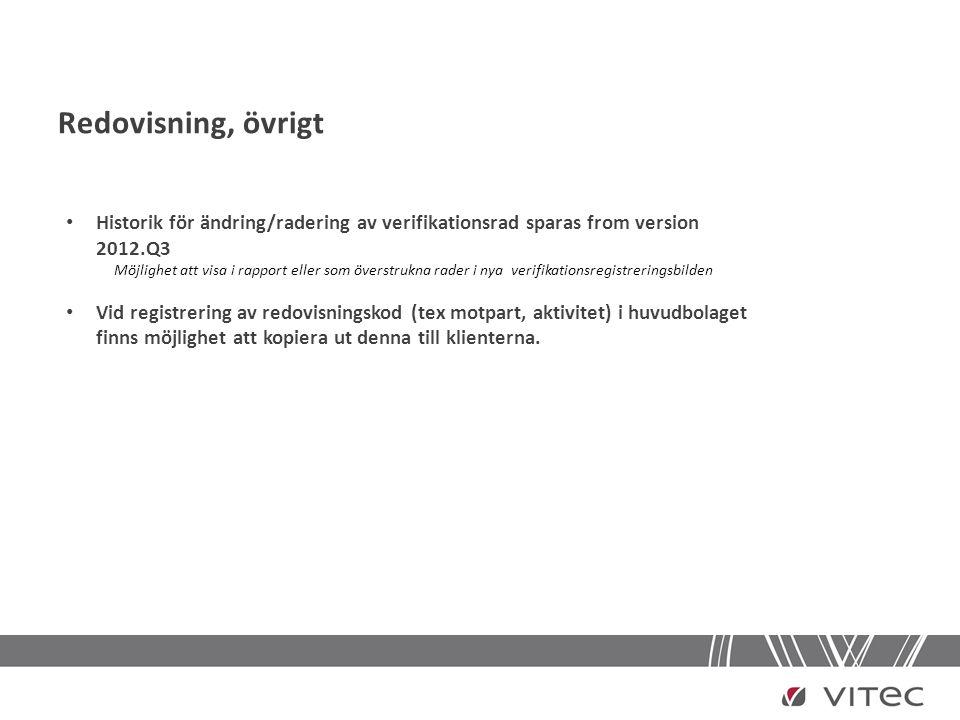 Redovisning, övrigt • Historik för ändring/radering av verifikationsrad sparas from version 2012.Q3 Möjlighet att visa i rapport eller som överstrukna