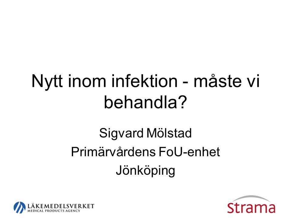 Nytt inom infektion - måste vi behandla? Sigvard Mölstad Primärvårdens FoU-enhet Jönköping