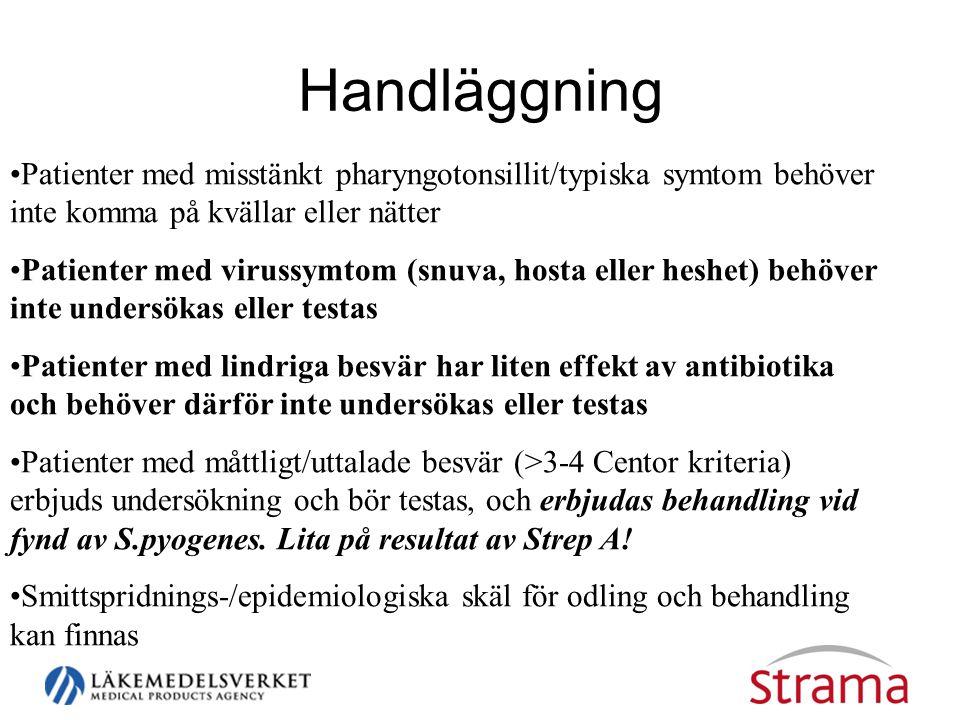 Handläggning •Patienter med misstänkt pharyngotonsillit/typiska symtom behöver inte komma på kvällar eller nätter •Patienter med virussymtom (snuva, hosta eller heshet) behöver inte undersökas eller testas •Patienter med lindriga besvär har liten effekt av antibiotika och behöver därför inte undersökas eller testas •Patienter med måttligt/uttalade besvär (>3-4 Centor kriteria) erbjuds undersökning och bör testas, och erbjudas behandling vid fynd av S.pyogenes.