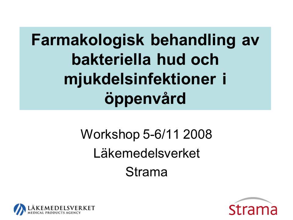 Farmakologisk behandling av bakteriella hud och mjukdelsinfektioner i öppenvård Workshop 5-6/11 2008 Läkemedelsverket Strama