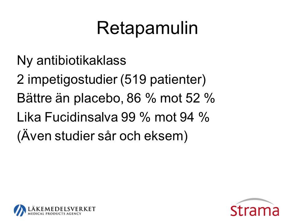 Retapamulin Ny antibiotikaklass 2 impetigostudier (519 patienter) Bättre än placebo, 86 % mot 52 % Lika Fucidinsalva 99 % mot 94 % (Även studier sår o