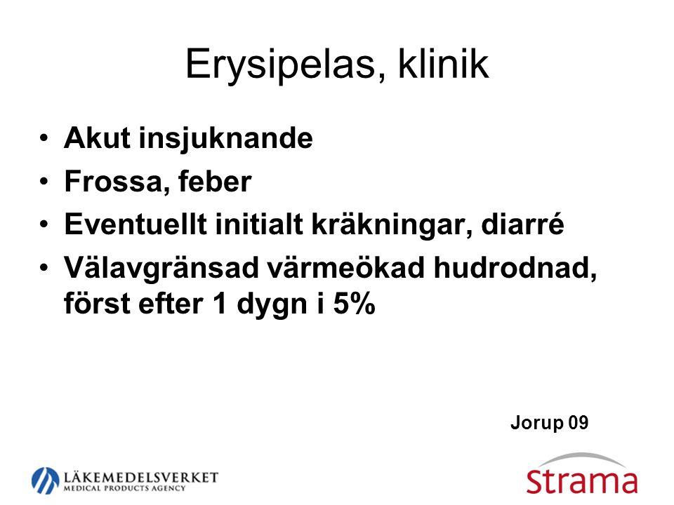 Erysipelas, klinik •Akut insjuknande •Frossa, feber •Eventuellt initialt kräkningar, diarré •Välavgränsad värmeökad hudrodnad, först efter 1 dygn i 5%